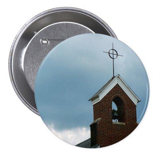 Bouton croisé de photo de Steeple d'église chrétie Badges Avec Agrafe