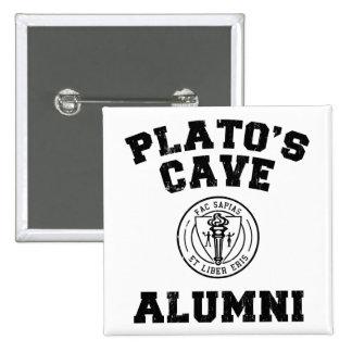 Bouton d'anciennes élèves de la caverne de Platon Macaron Carré 5 Cm