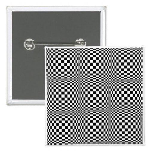 Bouton de carré d'illusion de damier badges avec agrafe