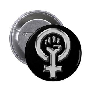 Bouton de chrome de puissance de femme badge rond 5 cm