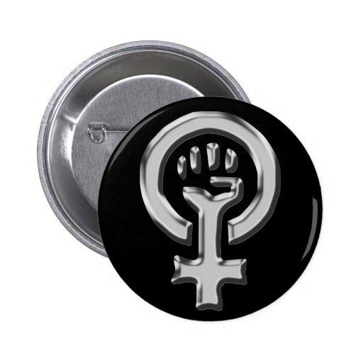 Bouton de chrome de puissance de femme badges avec agrafe