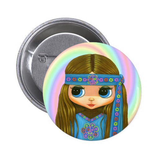 Bouton de hippie de flower power badges