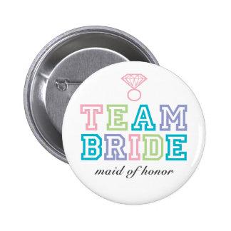 Bouton de jeune mariée d'équipe pin's avec agrafe