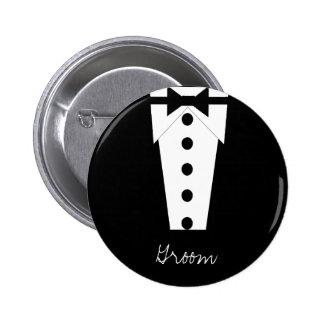 Bouton de marié macaron rond 5 cm