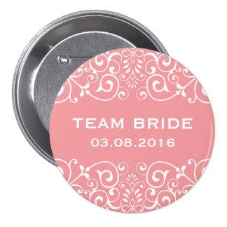Bouton floral victorien rose de jeune mariée macaron rond 7,6 cm