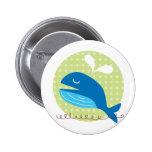Bouton heureux de baleine badge avec épingle
