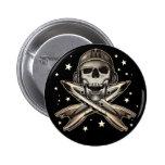 Bouton rond de pirate de l'espace badge avec épingle