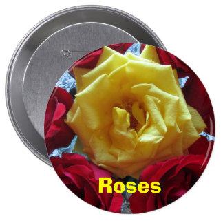 Bouton - roses Jaune-Rouges Badges Avec Agrafe