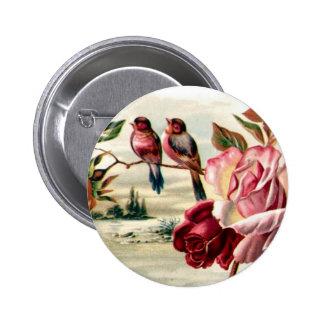 Bouton vintage de roses d'oiseau pin's avec agrafe