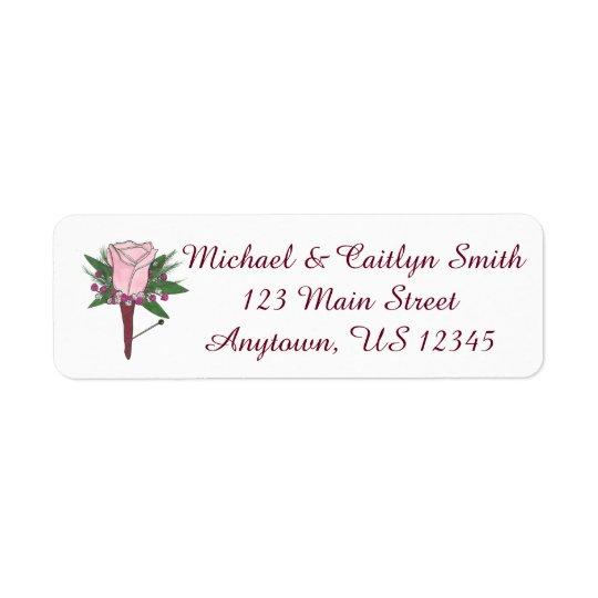 Boutonniere Pink Floral Rose Flower Wedding Labels