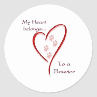 Bouvier des Flandres Heart Belongs Classic Round Sticker