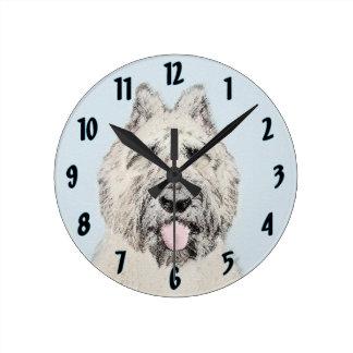 Bouvier des Flandres Painting - Original Dog Art Round Clock
