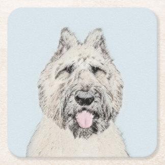 Bouvier des Flandres Painting - Original Dog Art Square Paper Coaster