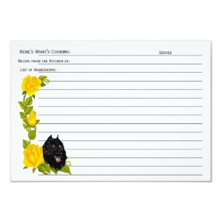 "Bouvier des Flandres, Yellow Roses Recipe Card 3.5"" X 5"" Invitation Card"