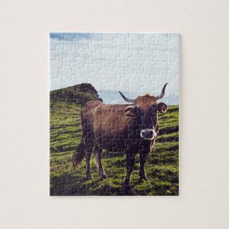 Bovine Cow on Beautiful Landscape Jigsaw Puzzle