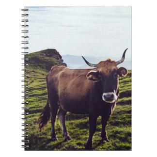 Bovine Cow on Beautiful Landscape Spiral Notebook