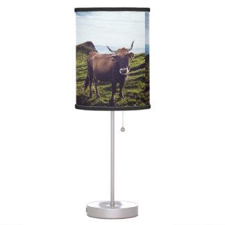 Bovine Cow on Beautiful Landscape Table Lamp
