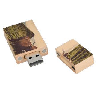 Bovine Cow on Beautiful Landscape Wood USB 2.0 Flash Drive