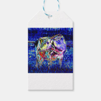 Bovine in blue gift tags