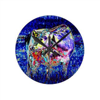 Bovine in blue round clock