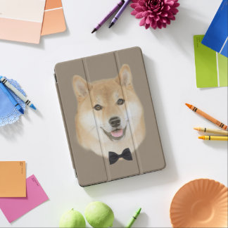 Bow and tie funny shiba inu dog illustration iPad air cover