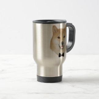 Bow and tie funny shiba inu dog illustration travel mug