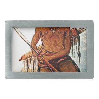 bow armed warrior rectangular belt buckle