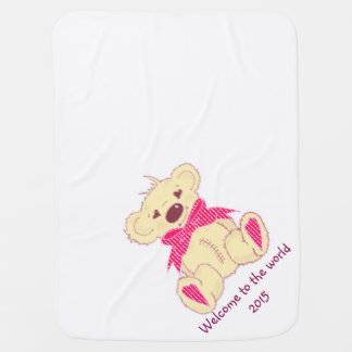 Bow Bear in pink welcome to the world Swaddle Blanket