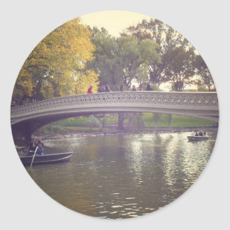 Bow Bridge and Boats, Central Park, NYC Round Sticker