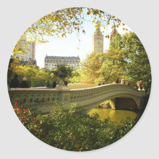 Bow Bridge in Autumn, Central Park, New York City Round Sticker