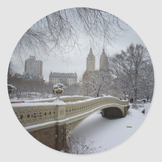 Bow Bridge in Winter, Central Park, New York City Round Sticker