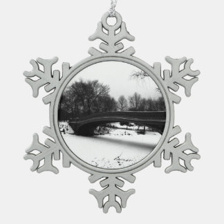 Bow Bridge Winter Central Park NYC Pewter Snowflake Ornament