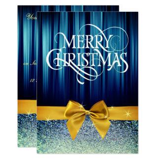 Bow Glittery Christmas Dinner Invite