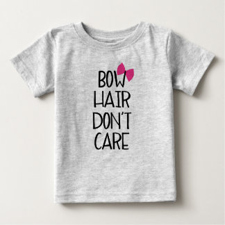 Bow Hair Don't Care - Funny Kids Tee - Pink Bow