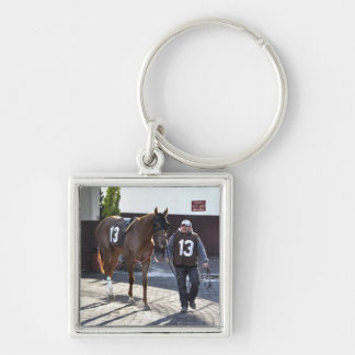 Bow Tie Affair Silver-Colored Square Keychain