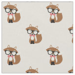Bow Tie and Glasses Hipster Brown Fox Fabric