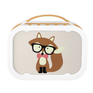Bow Tie and Glasses Hipster Brown Fox Lunch Box