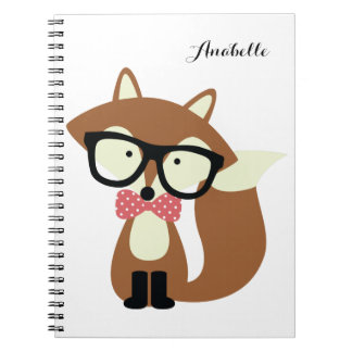 Bow Tie and Glasses Hipster Brown Fox Personalized Notebook