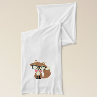 Bow Tie and Glasses Hipster Brown Fox Scarf