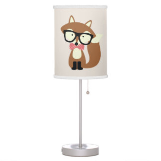 Bow Tie and Glasses Hipster Brown Fox Table Lamp