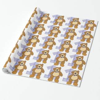 Bow Tie Brown Teddy Bear with Number 1