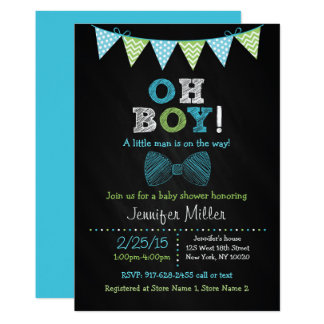 Bow Tie Chalkboard Oh Boy Baby Shower Card