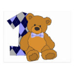 Bow Tie Teddy Bear with Number 1 Postcards