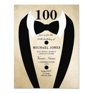 Bow Tie Tuxedo Gold 100th Birthday Party Invite