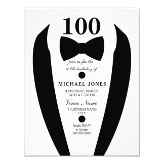 Bow Tie Tuxedo Mens 100th Birthday Party Invite