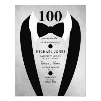 Bow Tie Tuxedo Silver 100th Birthday Party Invite