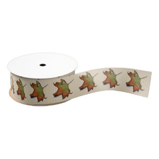 Bow with watercolor of autumnal leaves grosgrain ribbon