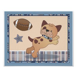 Bow Wow Puppy Buddies Football Dog Nursery Art Photo Print