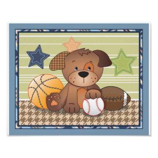 Bow Wow Puppy Buddies Sports Dog Nursery Art Photo Print