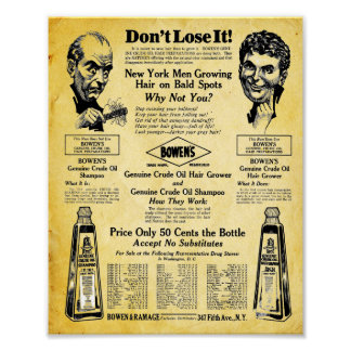 Bowens Vintage Hair Tonic Print